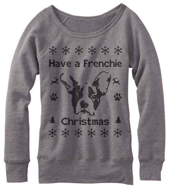 Have A Frenchie Christmas Off The Shoulder Sweatshirt