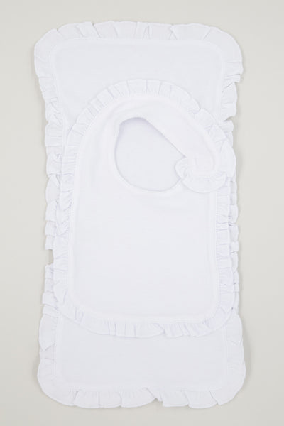 Monogrammed Ruffle Infant Bib and Burp Cloth