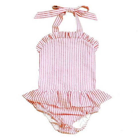 Monogrammed Striped Seersucker Swimsuit