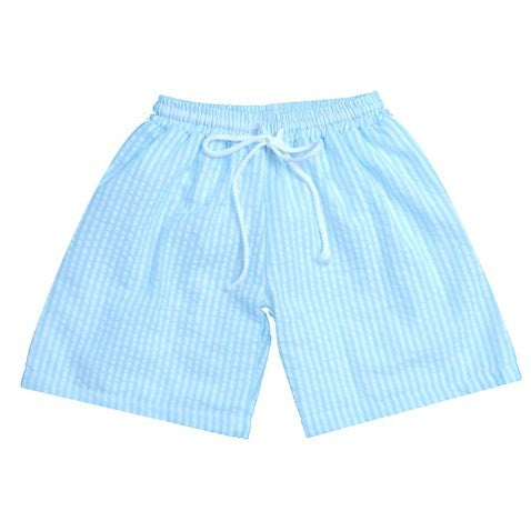 Boys Monogrammed Seersucker Stripe Swim Trunks