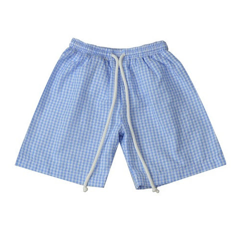 Boys Monogrammed Seersucker Swim Trunks
