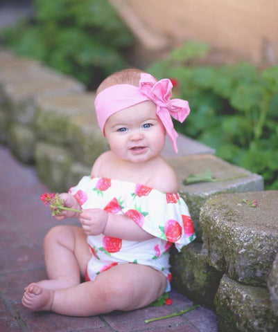 Strawberry Patch Flutter Sleeve Romper
