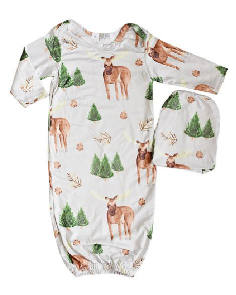 Moose Sleeper Gown and Beanie Set