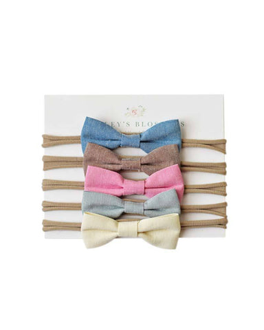 Linen Bow Variety Pack- Denim/Brown/Pink/Seafoam/Maize