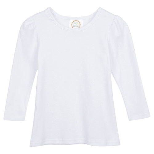 Long-Sleeved Girls Monogrammed Shirt Without Ruffles