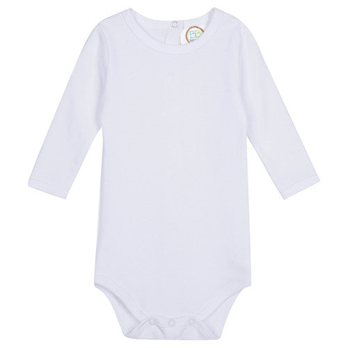Long-Sleeved Monogrammed Unisex Onesie in White