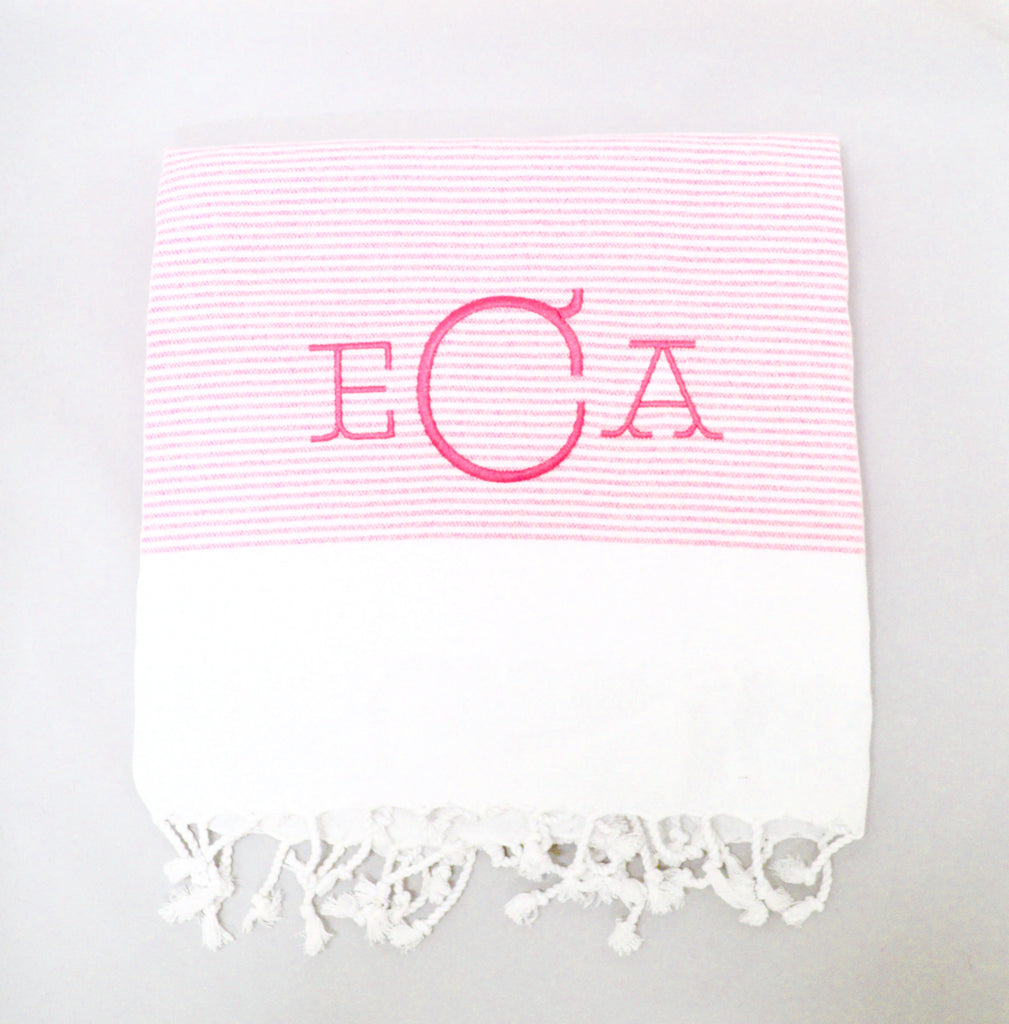 Monogrammed Turkish Beach Towel- Pink Stripe