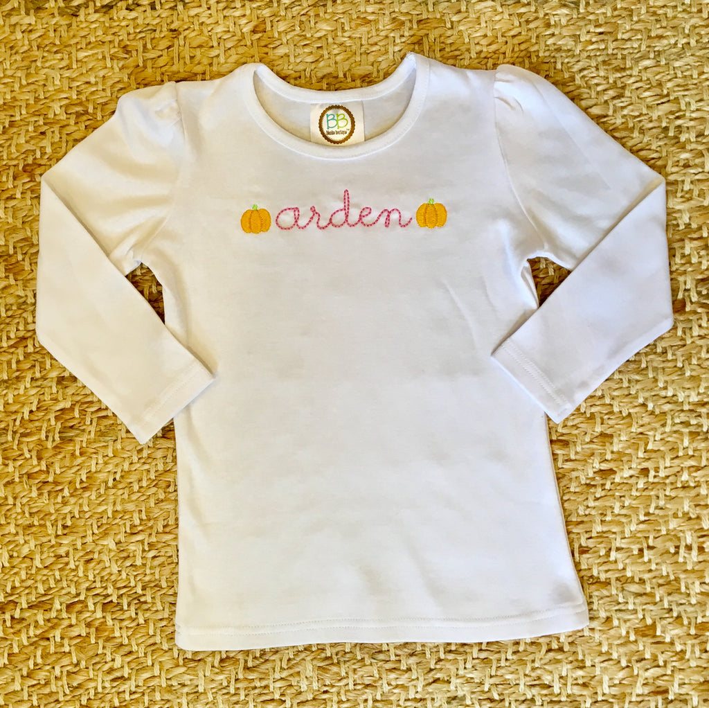 Girls Pumpkin Mini Embroidery Shirt