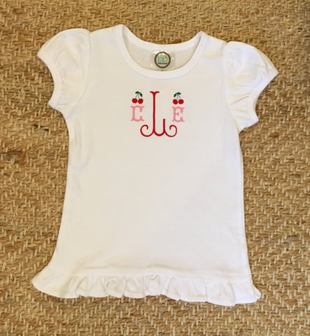 Girls Cherry Monogrammed Shirt