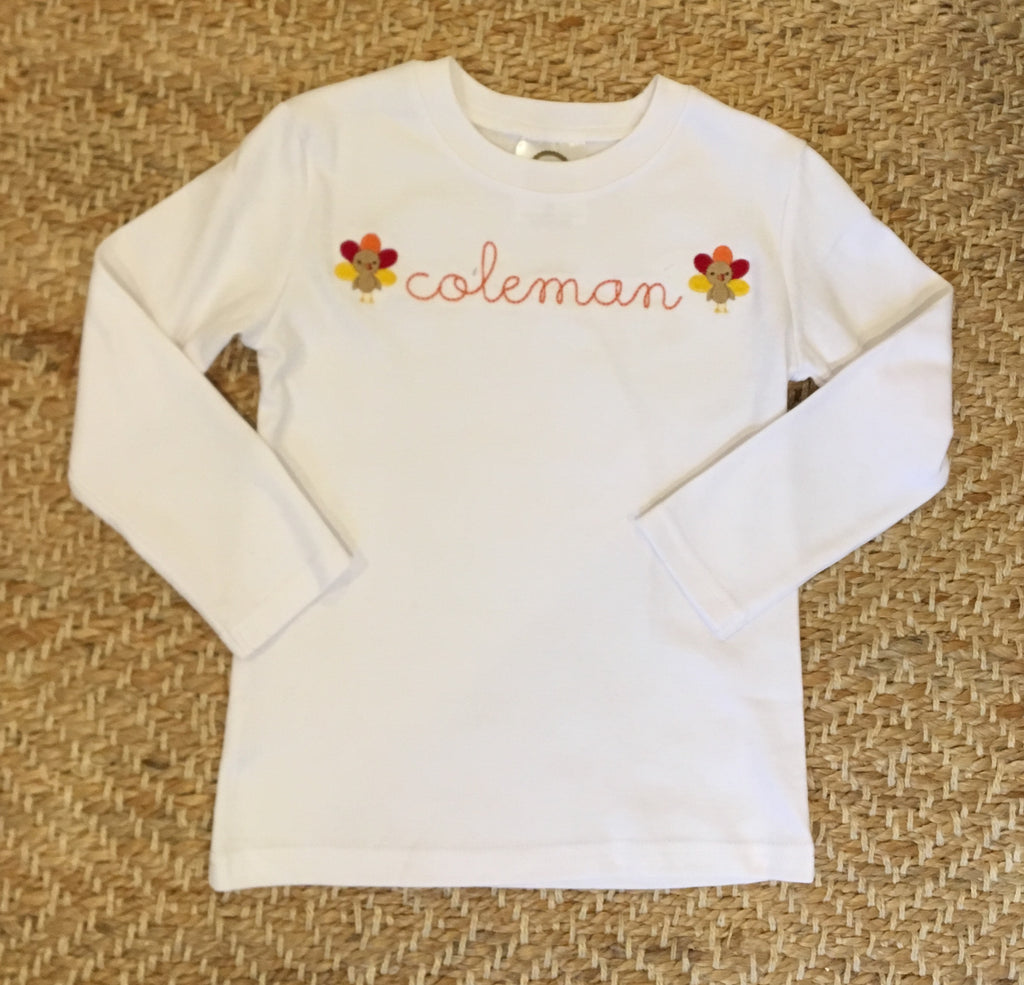 Mini Thanksgiving Turkey Embroidered Shirt