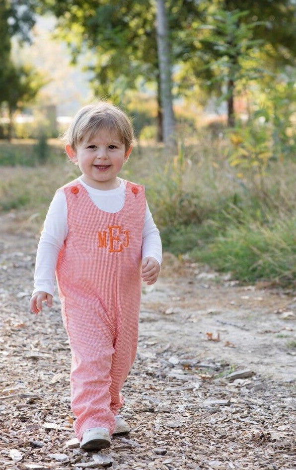 Monogrammed Boys Orange Gingham Longall