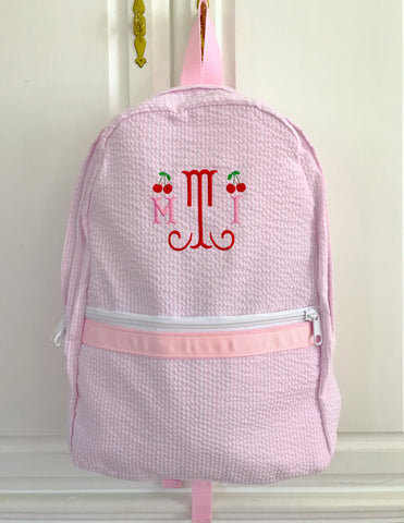 Monogrammed Pink Seersucker Lunch Tote or Backpack with Cherries