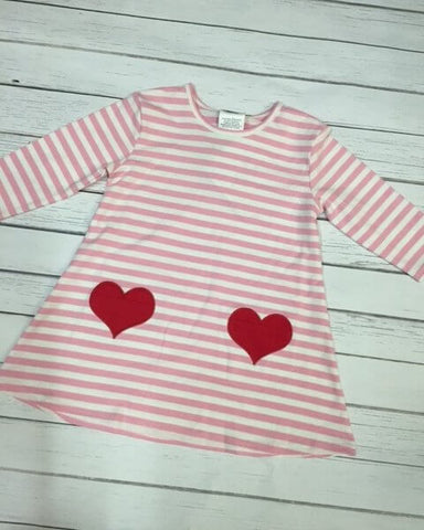 Striped Valentines Heart Pocket Dress