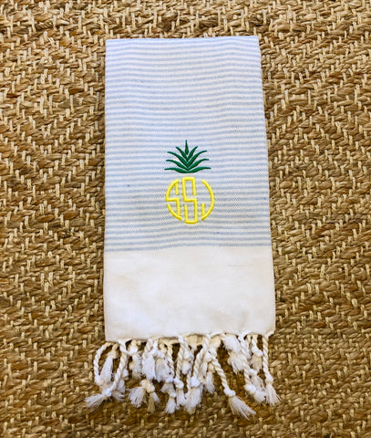 Turkish Hand Towel with Pineapple Monogram