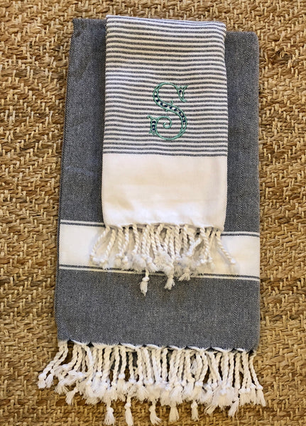 Monogrammed Striped Turkish Beach Towel- Multiple Colors Available