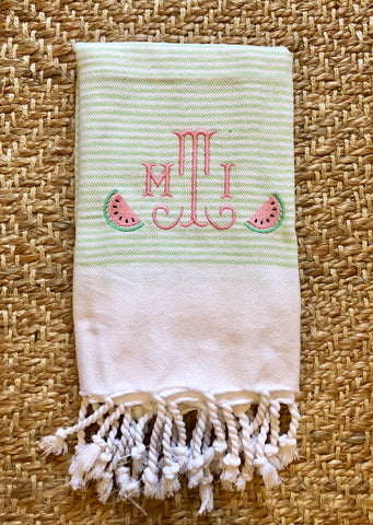 Watermelon Stripe Turkish Hand Towels