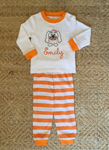 Girls Orange and White Striped PJs