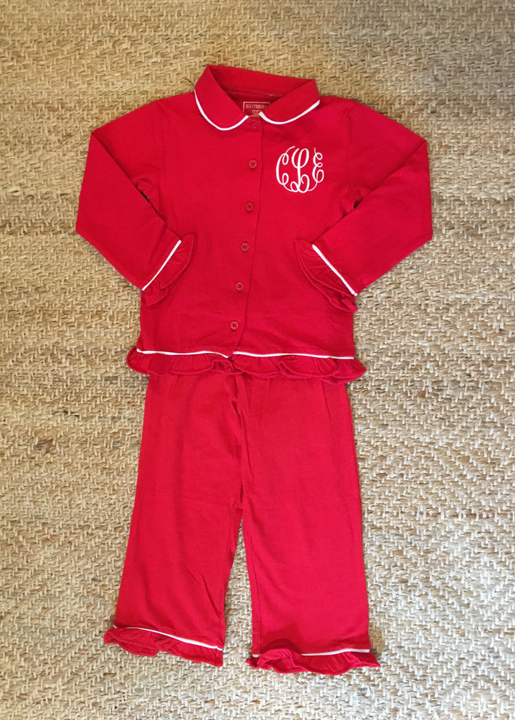 Girls Red Button Christmas PJs