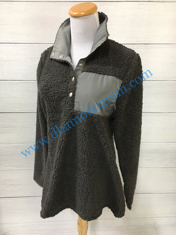 Women's Sherpa Pullover in Charcoal