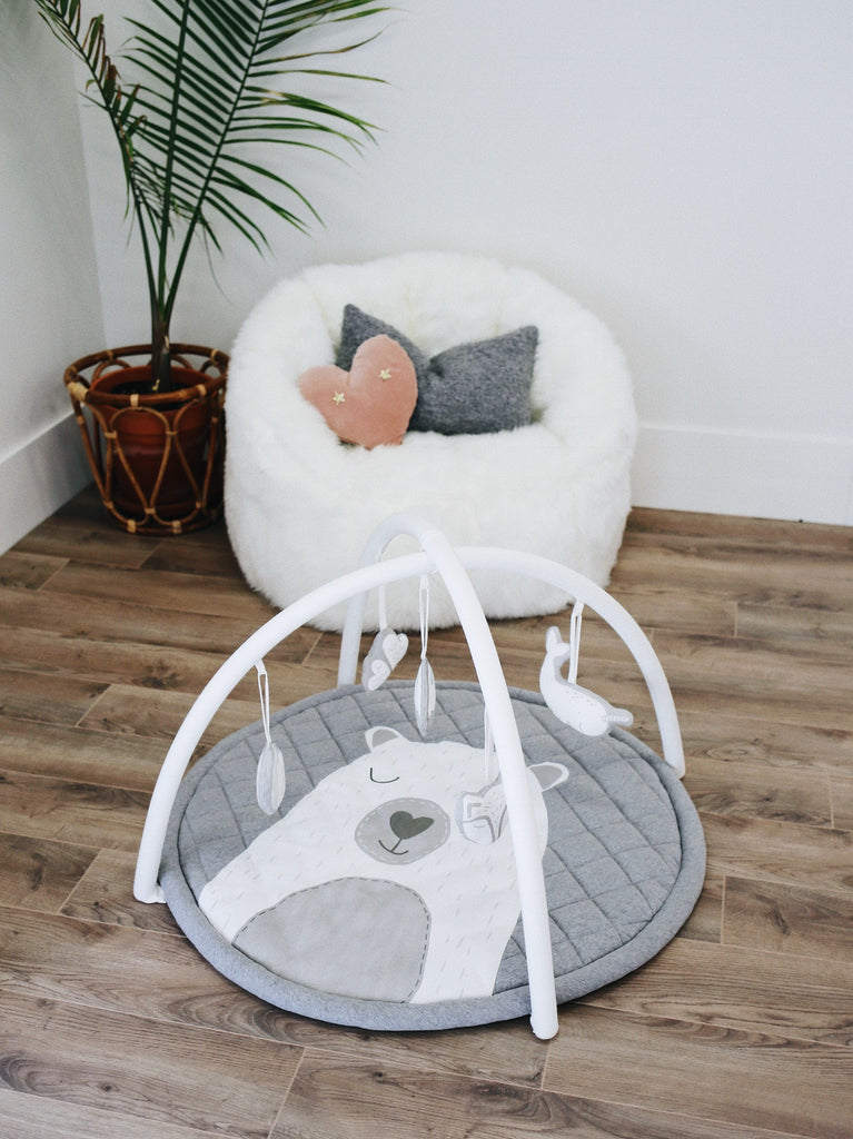 Grey and White Activity Gym Plush Neutral Baby Play Gym, Best Unisex Mat | Bubs