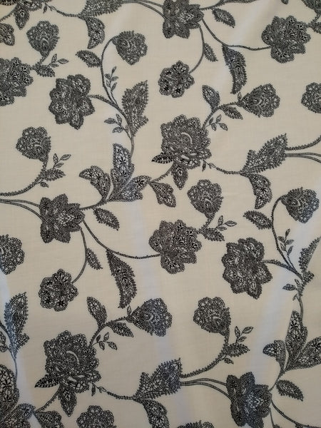 Dress Fabric: Printed Rayon - White with Black flower
