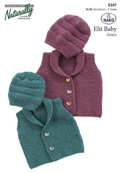 Naturally: Elit Baby Garter Stitch Vest & Hat