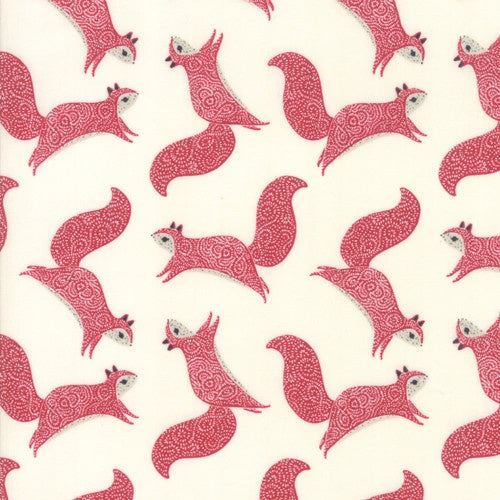 Printed Cottons: Squirrels - Cream/Red