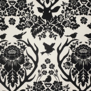 Black/White:  Birch Farm - Antler Damask