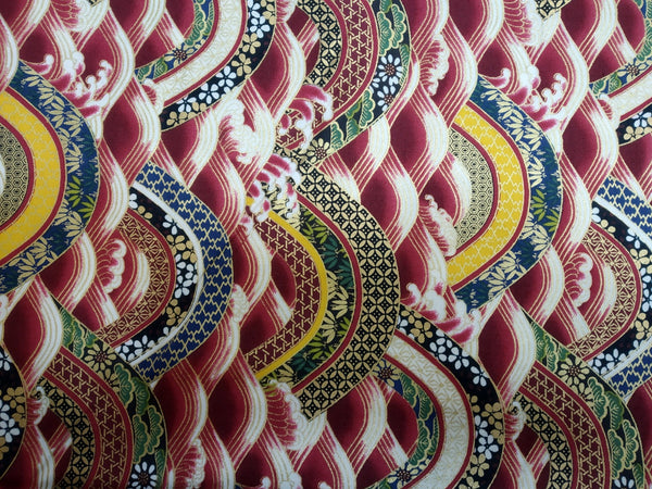 Japanese Fabric Red Waves