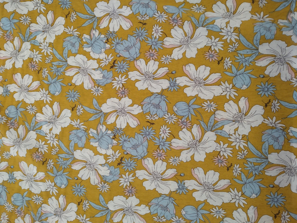 Dress Fabrics: Mustard flower Hint of blue