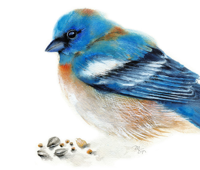Bluebird Watercolor Archival Print