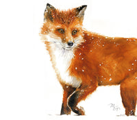Fox Walking on Snow - Watercolor Archival Print