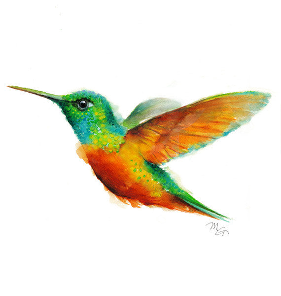 Hummingbird Watercolor Archival Print