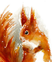 Squirrel Watercolor Archival Print