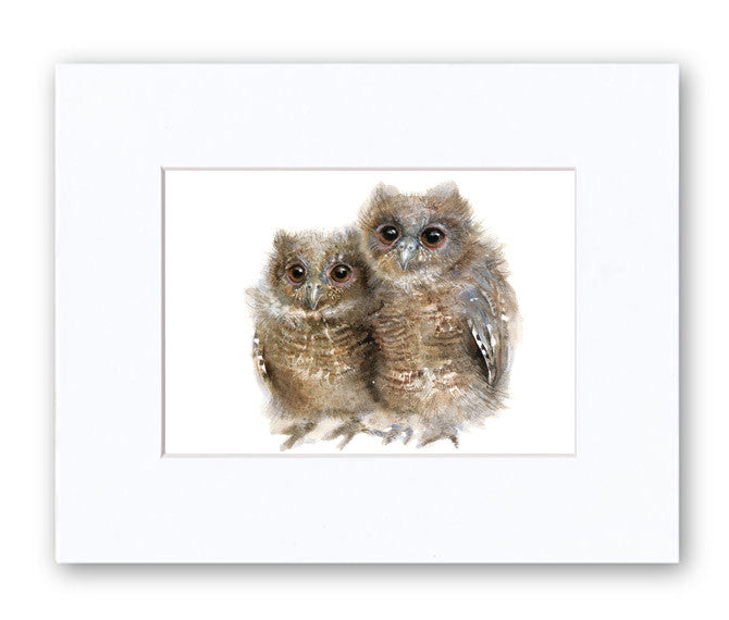 Young Owls Watercolor Archival Print