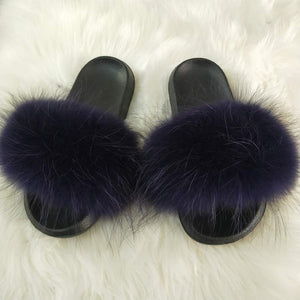 Authentic Racoon Fur Slides