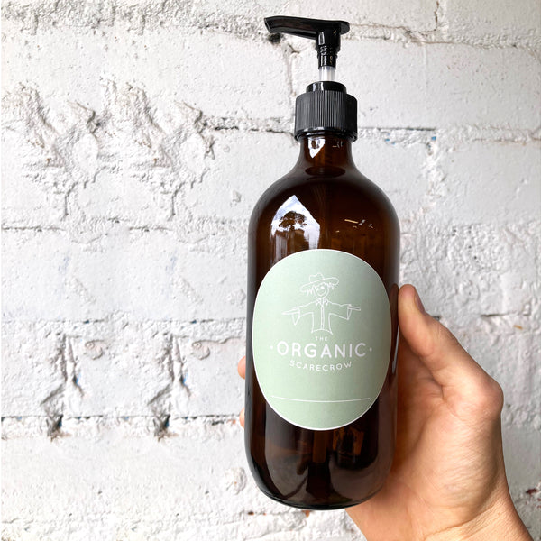 SimplyClean Hand Soap in Amber Glass Bottle with Pump Dispenser