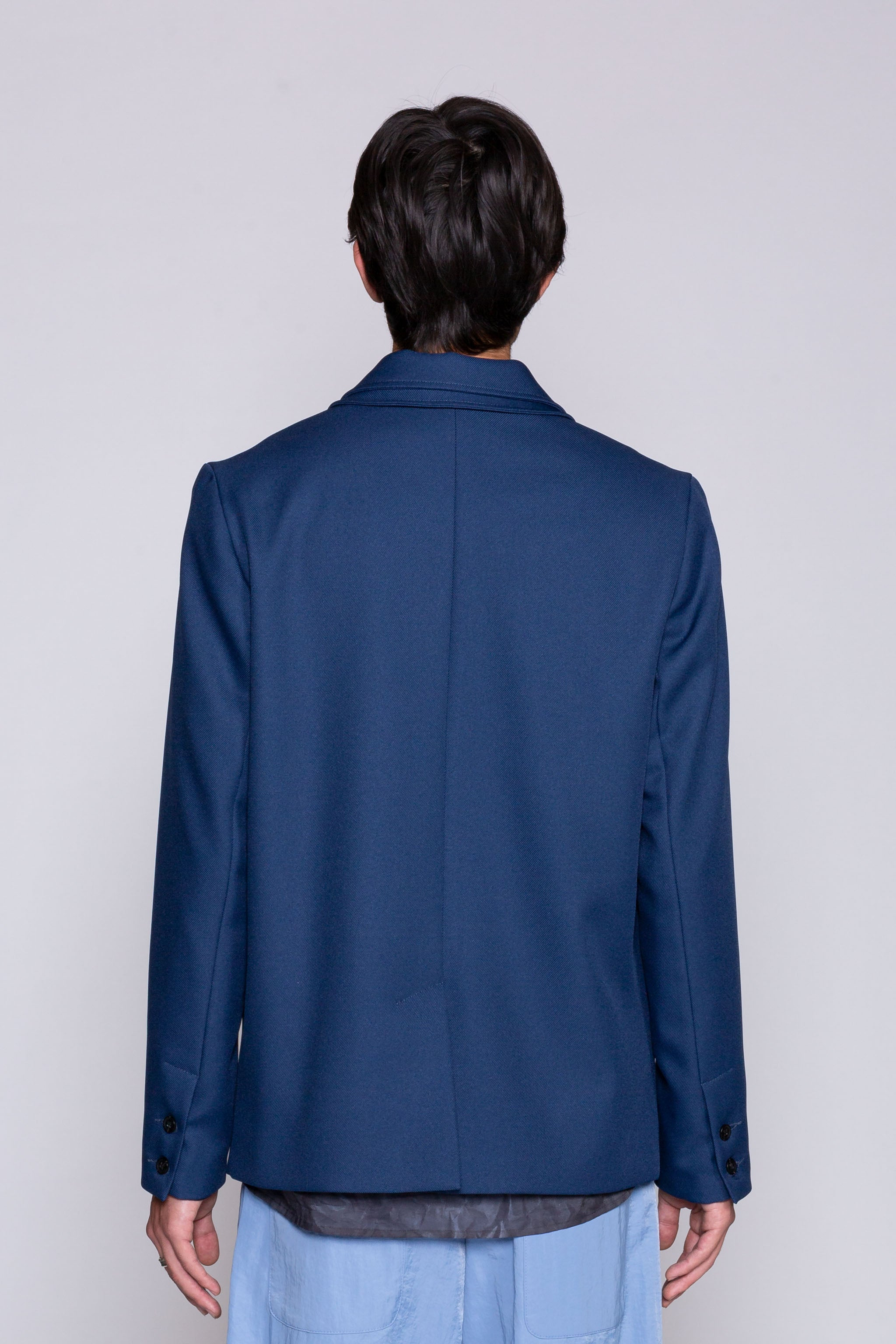 DIY Double Collar Blazer Blue