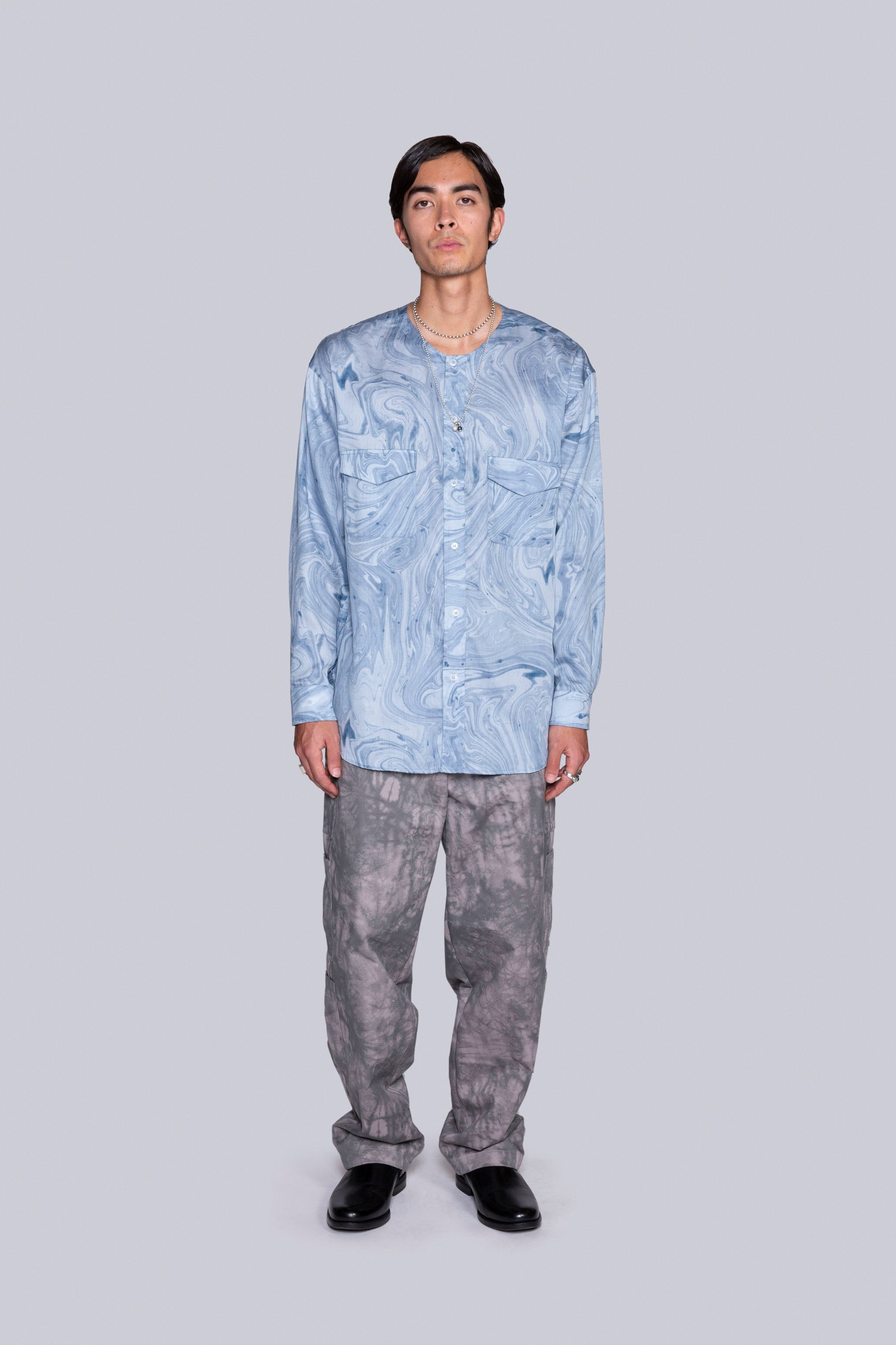 Painter Collarless L/S Shirt Blue
