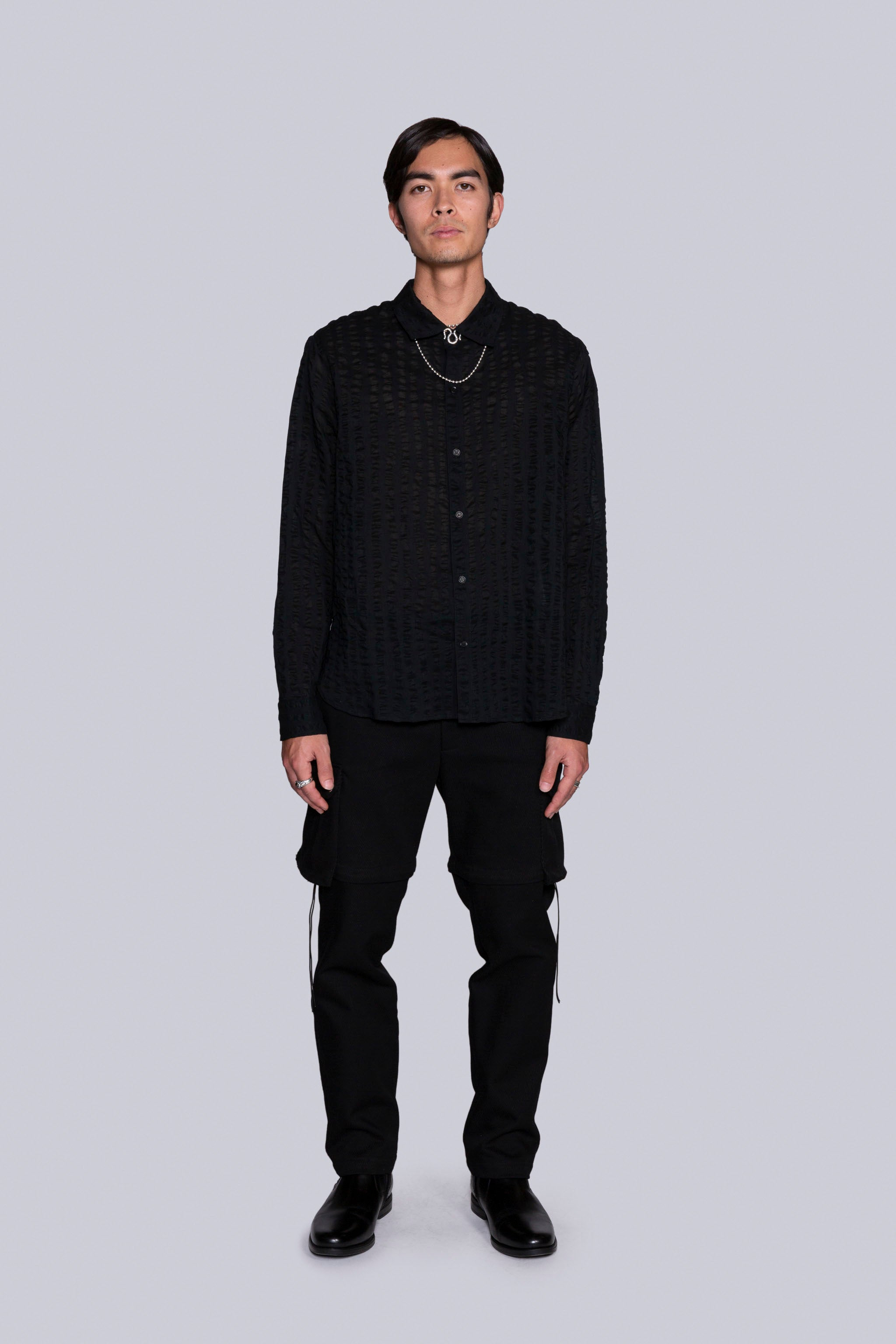 C.O.R. L/S Shirt Black Seersucker