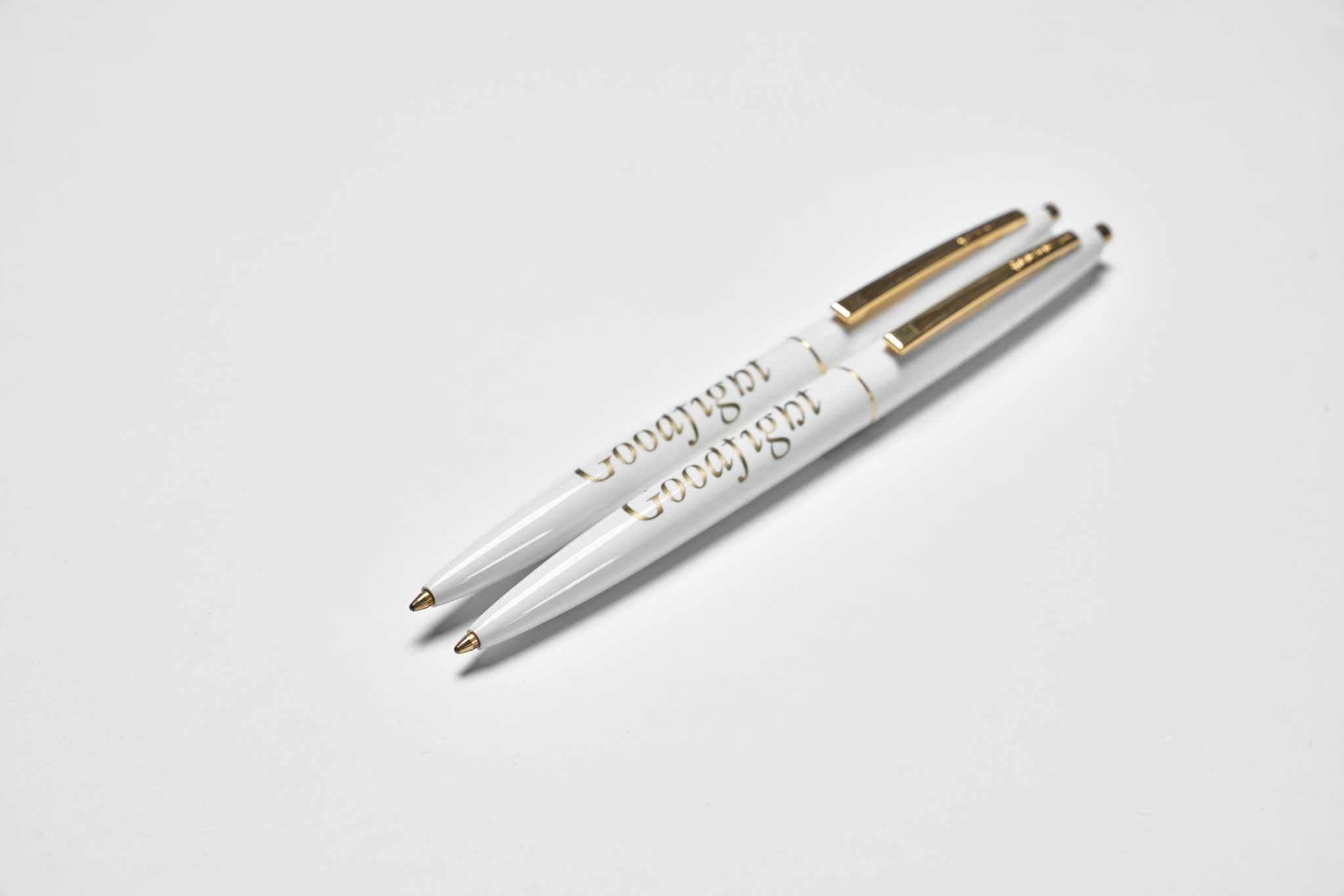 Goodfight Classic Logo Click Pen White and Gold