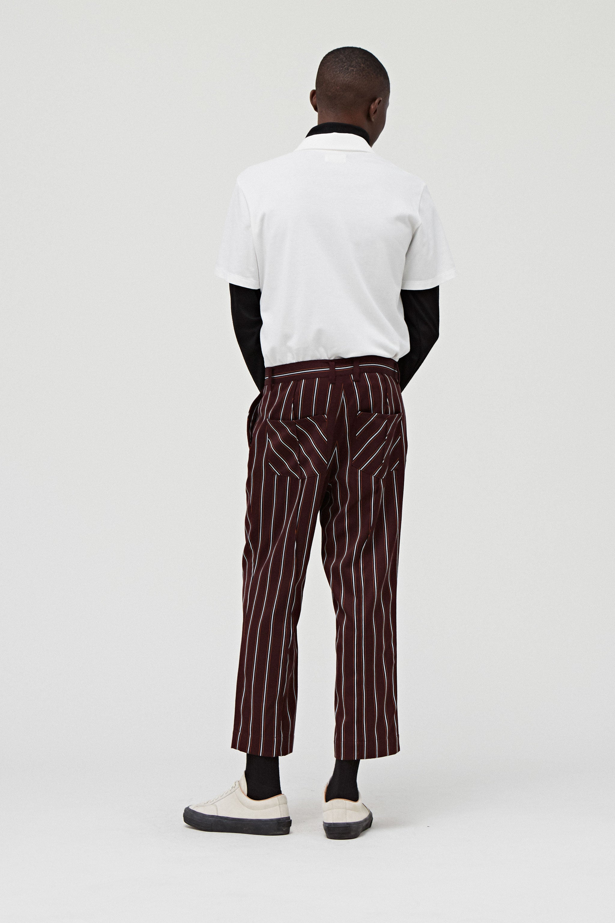 Goodfight FW18 Permapress Pants Brown Pinstripe