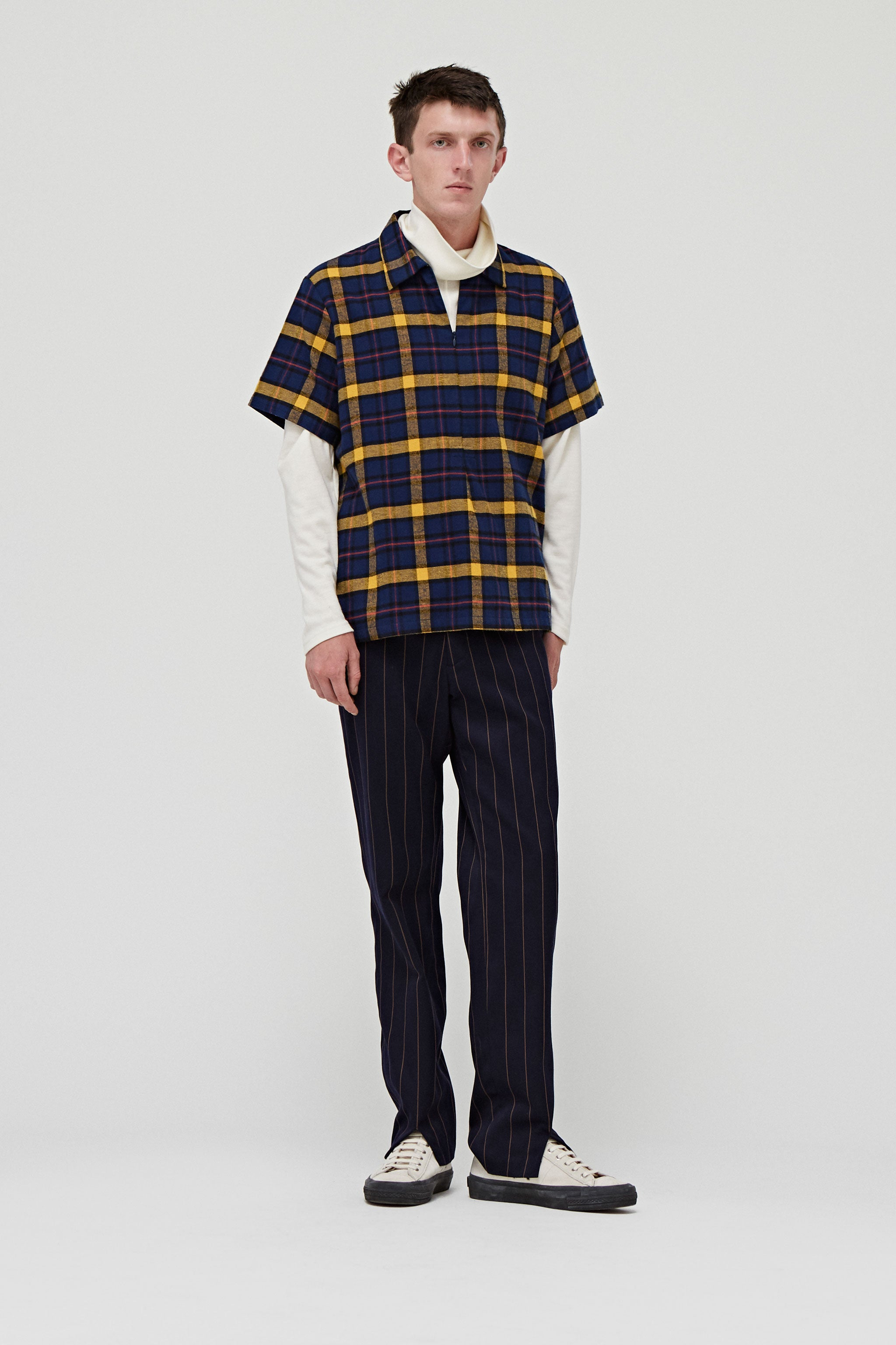 Goodfight FW18 Slicker Zip Polo Blue Plaid