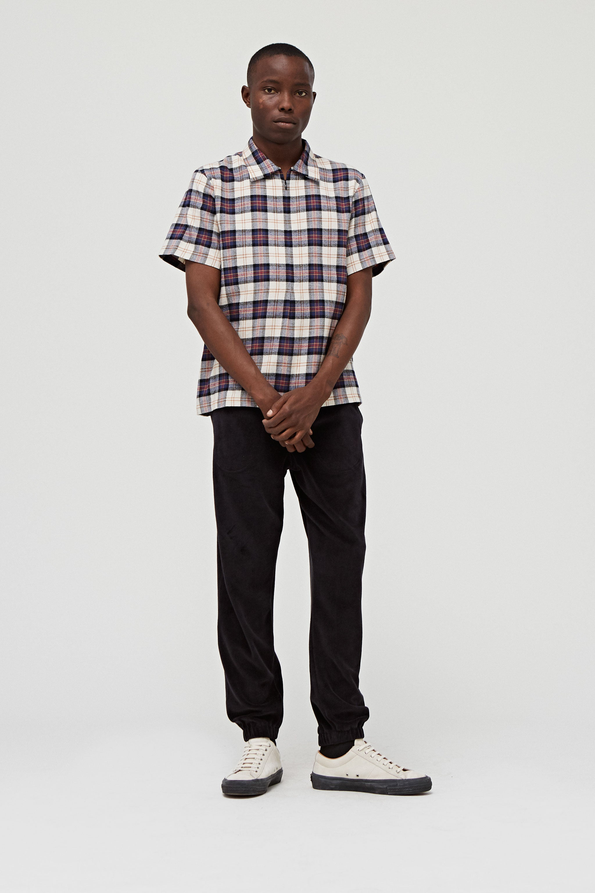 Goodfight FW18 Slicker Zip Polo Khaki Plaid