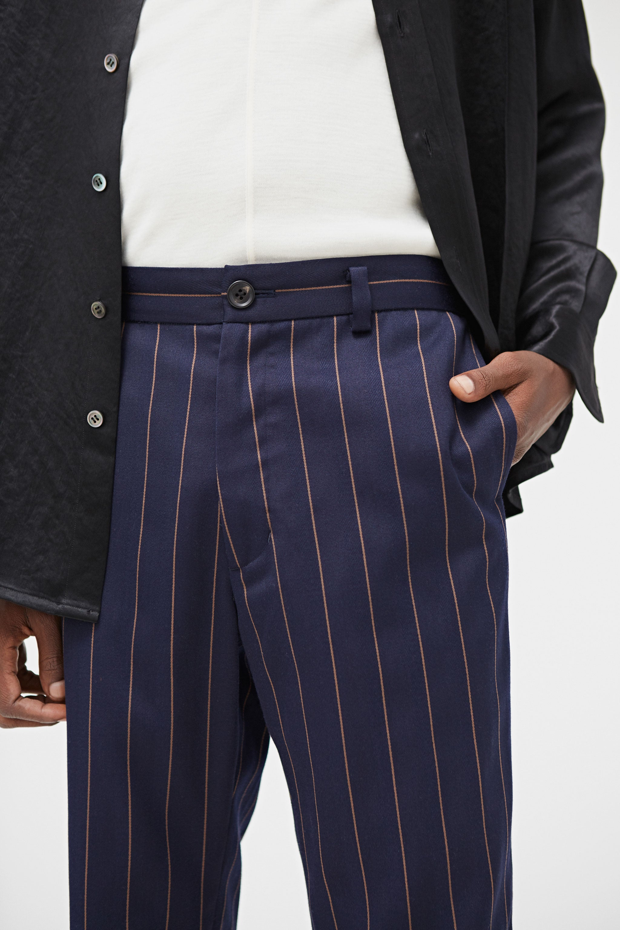 Goodfight FW18 Sunday's Best Trouser Navy Pinstripe