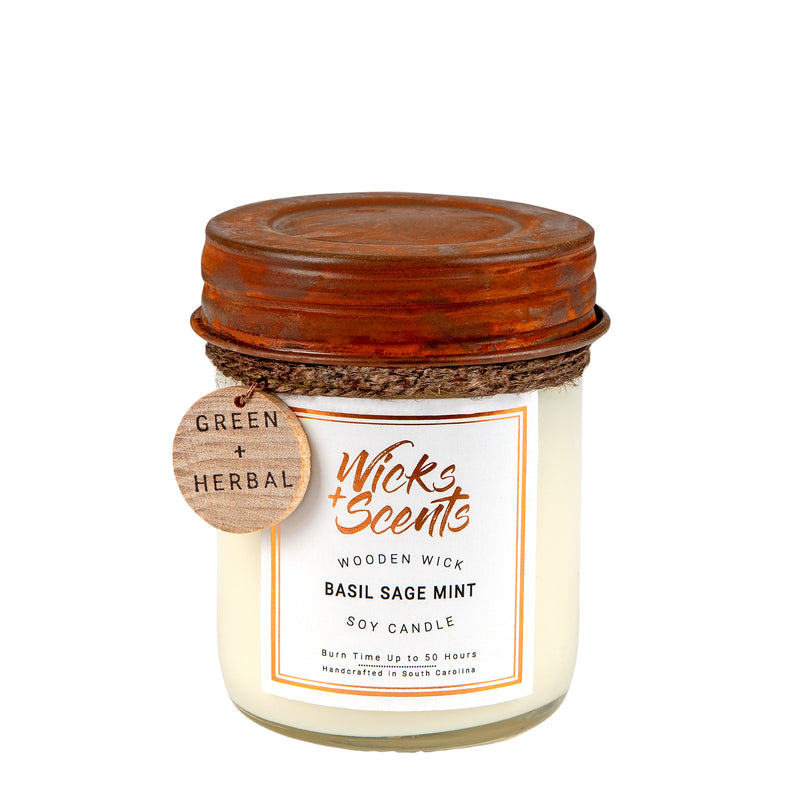 BASIL SAGE MINT WOODEN WICK CANDLE (8 OZ AN 12 OZ SIZES)