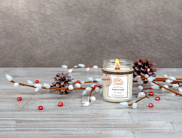 CHANCE OF SNOW WOODEN WICK CANDLE (8 OZ SIZE ONLY)