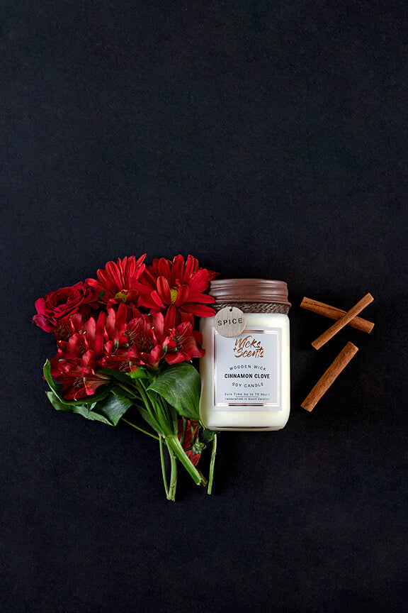 CINNAMON CLOVE WOODEN WICK CANDLE (8 OZ AND 12 OZ SIZES)