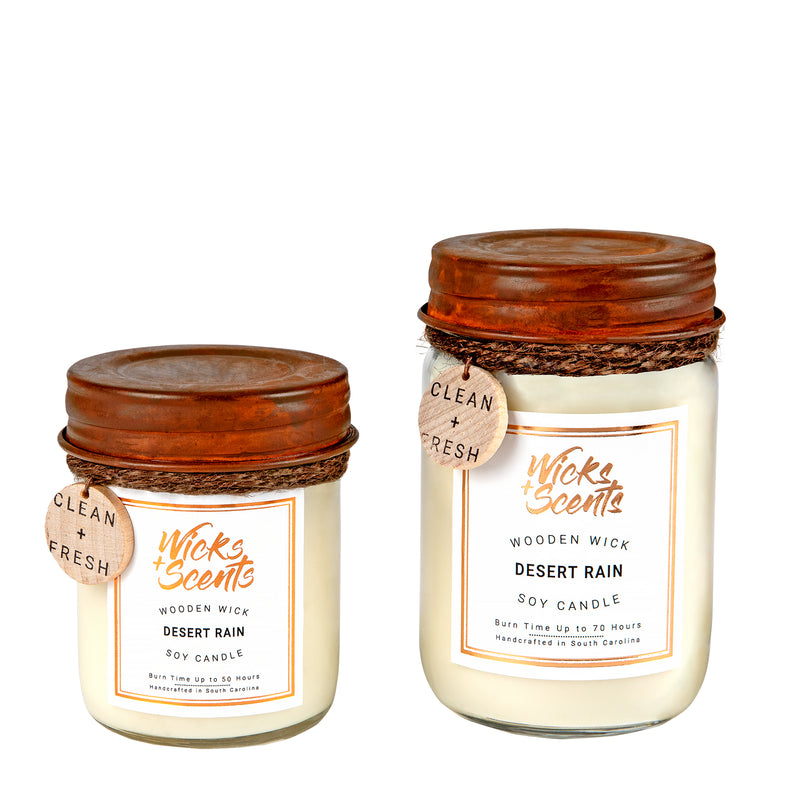 DESERT RAIN WOODEN WICK CANDLE (8 OZ AND 12 OZ SIZES)