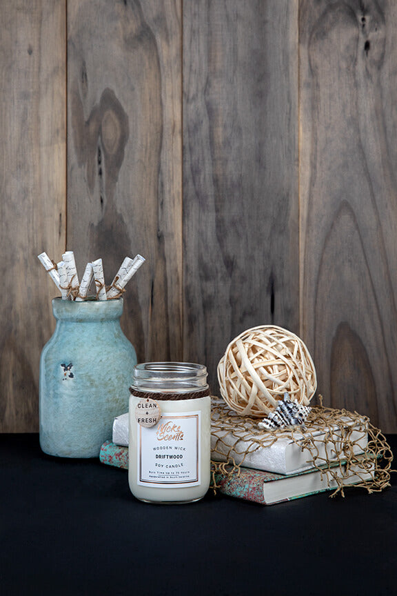 DRIFTWOOD WOODEN WICK CANDLE (8 OZ AND 12 OZ SIZES)